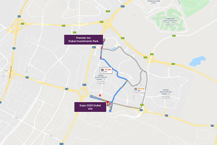 Map with best route to get to Expo 2020 from Dubai Investments Park hotel