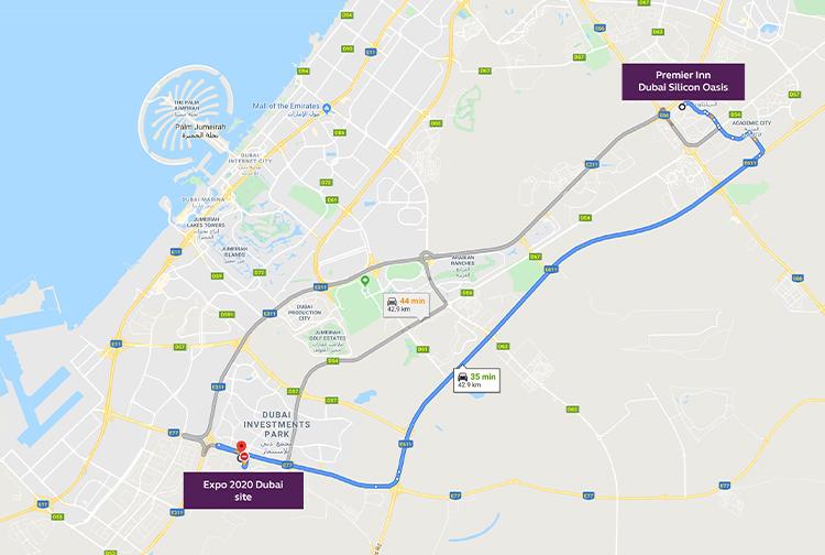 Route from Silicon Oasis to Expo 2020 Dubai