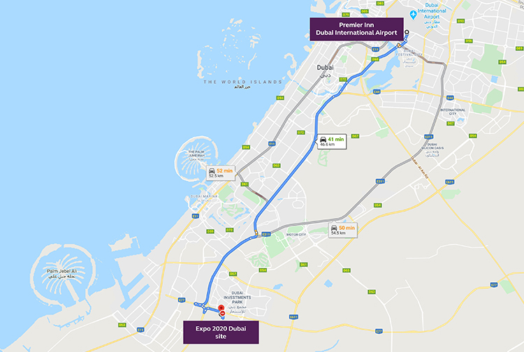 Map showing distance from Premier Inn Dubai International Airport hotel to Expo 2020 site in Dubai