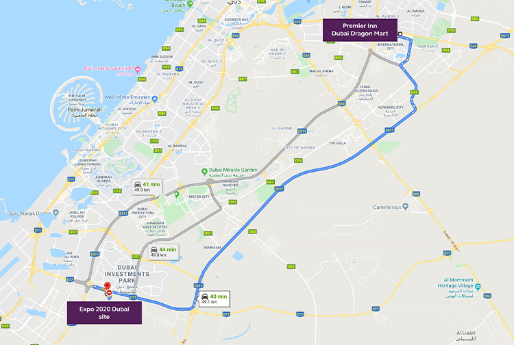 Directions to Expo 2020 from Dragon Mart hotel in Dubai
