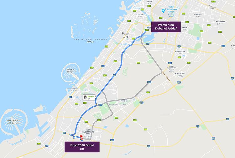 How to get from Premier Inn Dubai Al Jaddaf hotel to Expo 2020