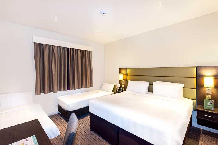 Family room with large double bed in Premier Inn Dubai Al Jaddaf hotel