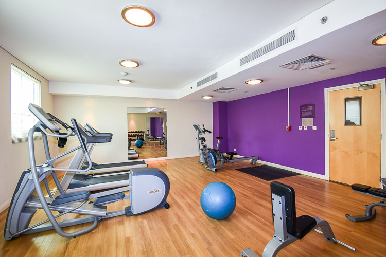 Gym with fitness ball and rowing machine at Premier Inn hotels