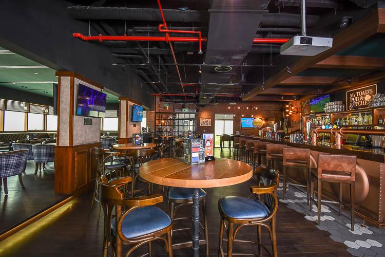 Inside Mr Toad's Pub at Premier Inn hotel near Expo 2020