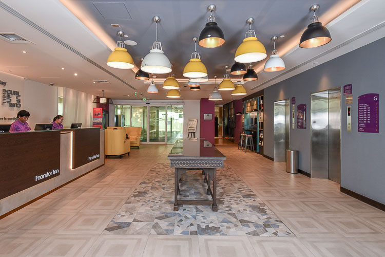 Hotel lobby at Premier Inn Dubai Silicon Oasis hotel