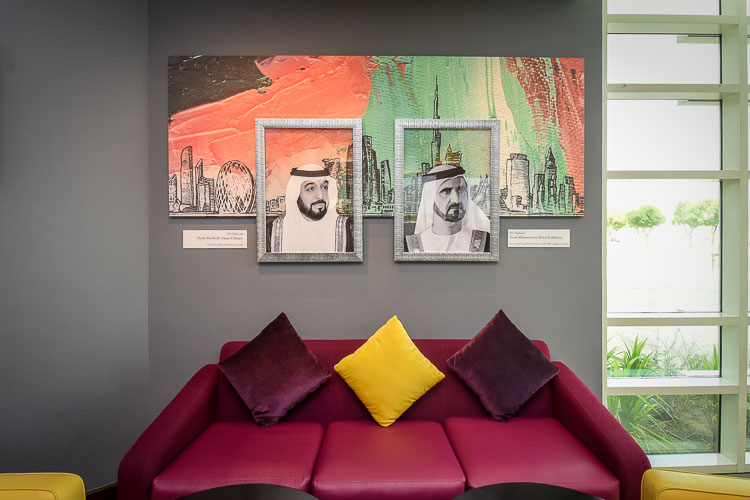 Seating area with leaders portraits in hotel in Dubai