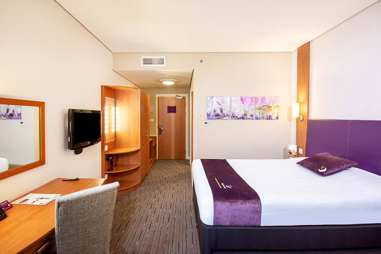 Hotel bedroom with double bed in Abu Dhabi hotel