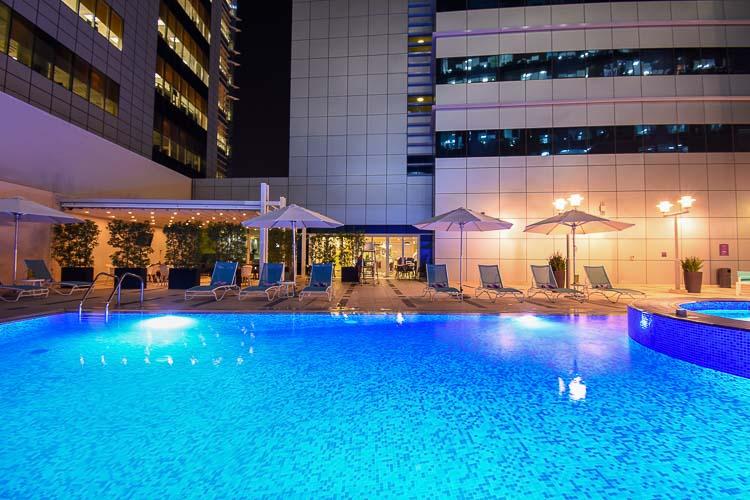 Swimming pool at budget hotel in Abu Dhabi