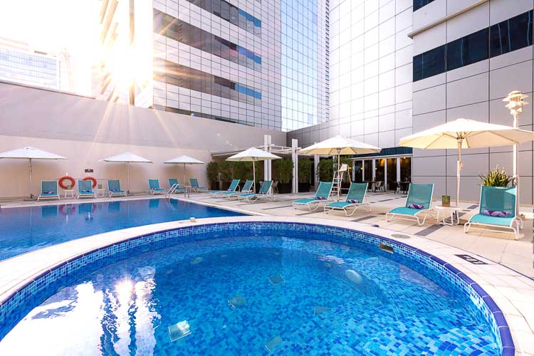 Whirlpool for guests at swimming pool in budget hotel in Abu Dhabi