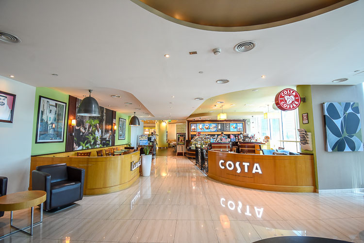 Lobby at hotel in Abu Dhabi with Costa Coffee cafe