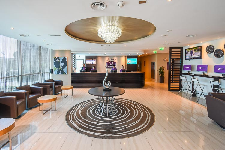 Lobby area at budget hotel in Abu Dhabi Capital Centre