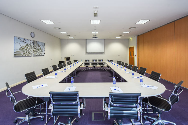 Large meeting room for business groups at budget hotel in Abu Dhabi