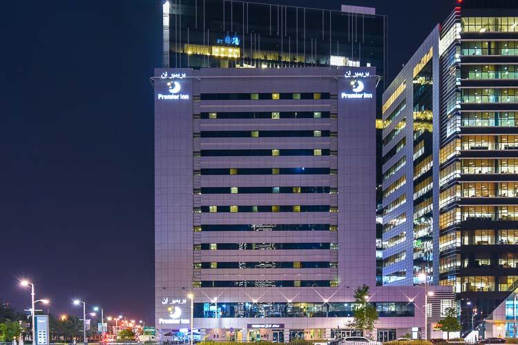 Premier Inn hotel in Abu Dhabi Capital Centre at night