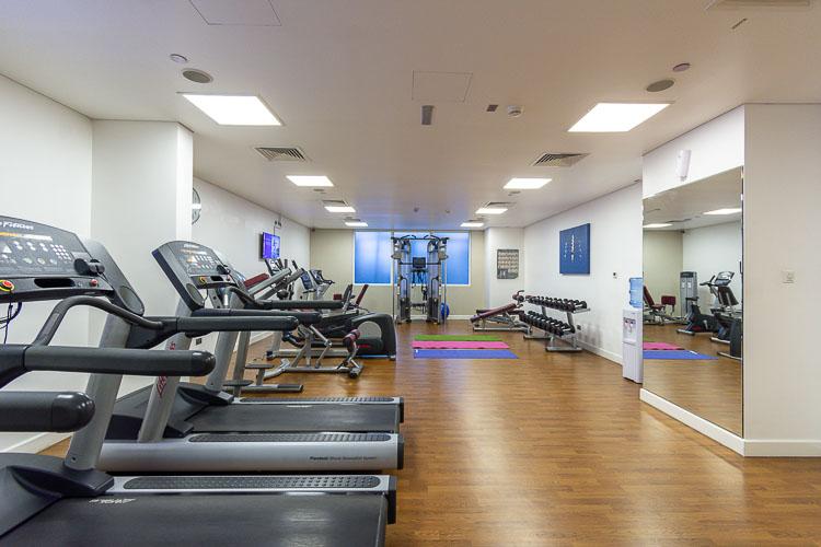 Running machine at the gym in Premier Inn Abu Dhabi International Airport hotel