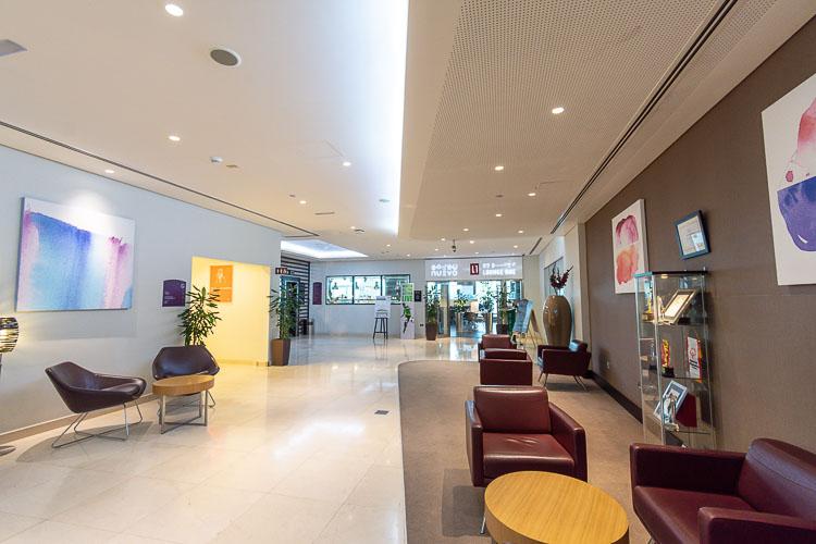 Lobby seating area at Premier Inn hotel near Abu Dhabi airport