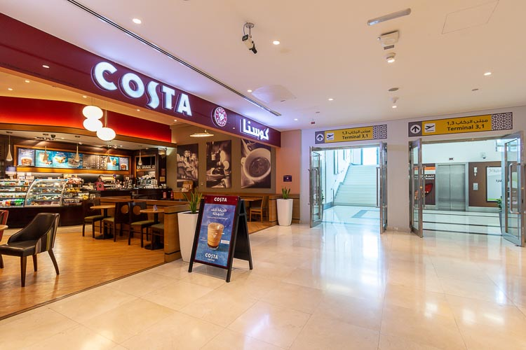Costa Coffee shop at Abu Dhabi International Airport inside the airport hotel