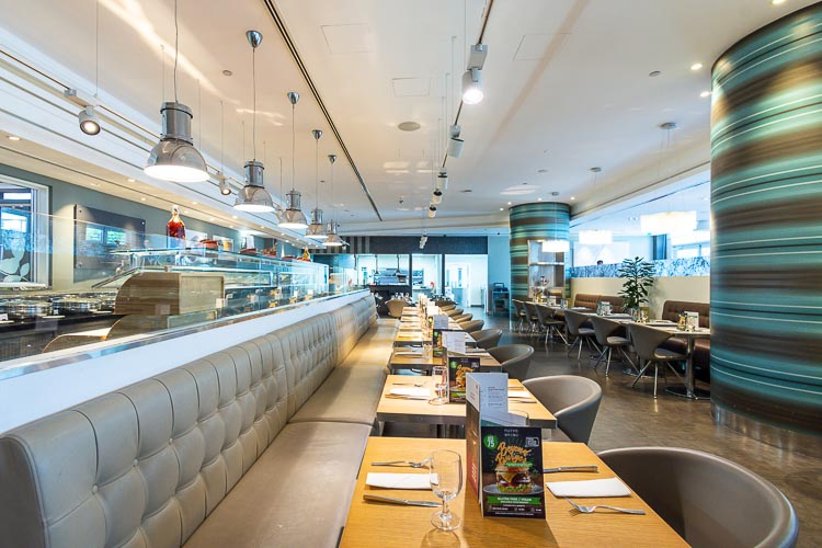 Bench seating at Nuevo restaurant near airport hotel in Abu Dhabi