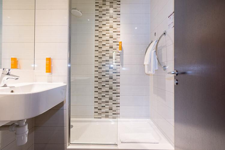 Private bathroom in budget hotel in Dubai