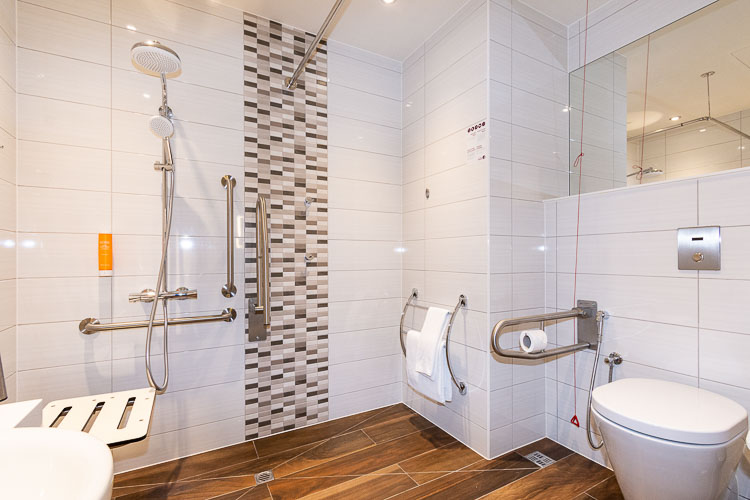Adapted bathroom for guests with disabilities staying in Dubai hotels