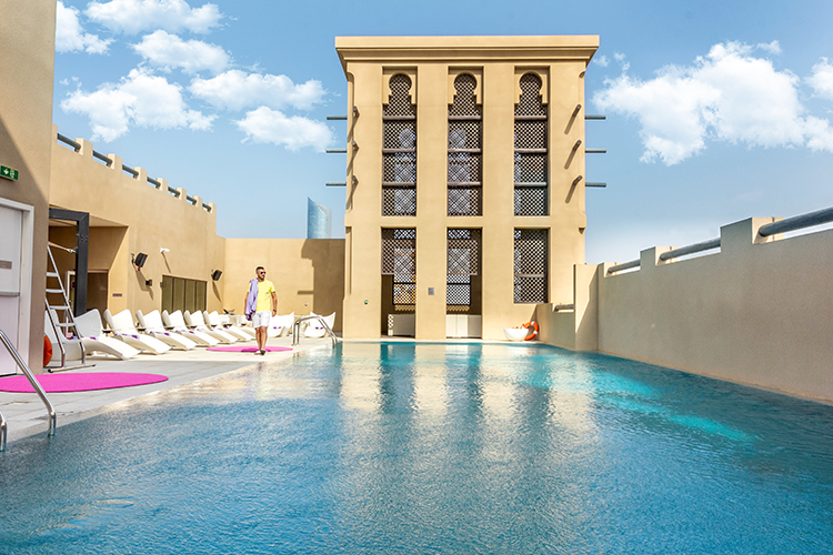 Rooftop swimming pool at budget hotel in Dubai