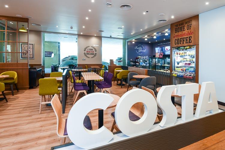 Costa Coffee shop inside 3star hotel in Dubai