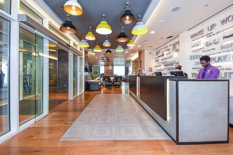 Hotel lobby and entrance in Premier Inn Dubai Al Jaddaf