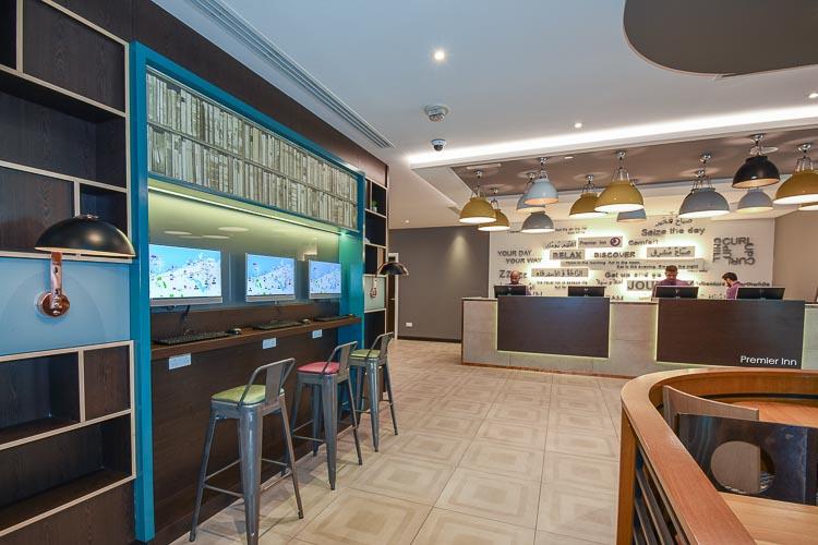 Business centre and reception area at Premier Inn Dubai International Airport hotel