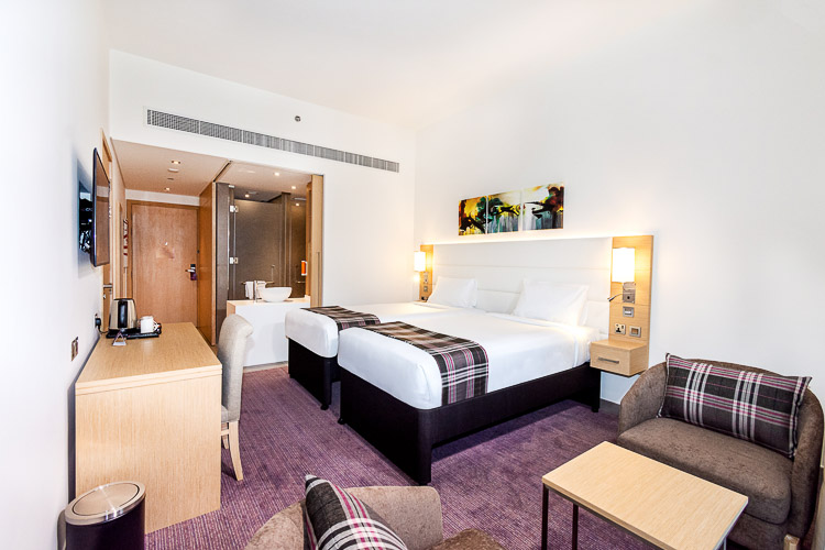 Budget hotel room near Dragon Mart with ensuite bathroom
