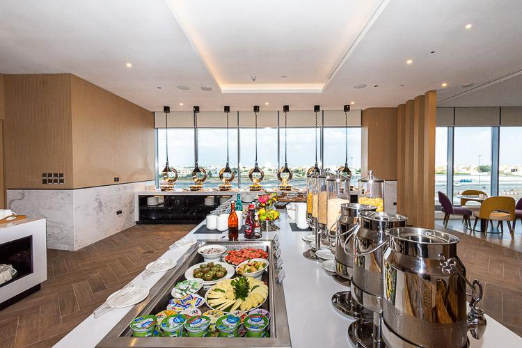 Buffet food at restaurant in Premier Inn Dragon Mart hotel