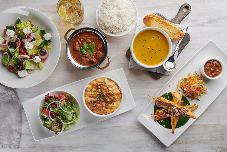 Selection of light bites and soup served at restaurant in Premier Inn hotel