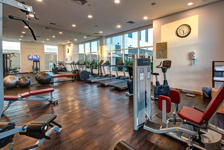 Gym with treadmill at Premier Inn hotel