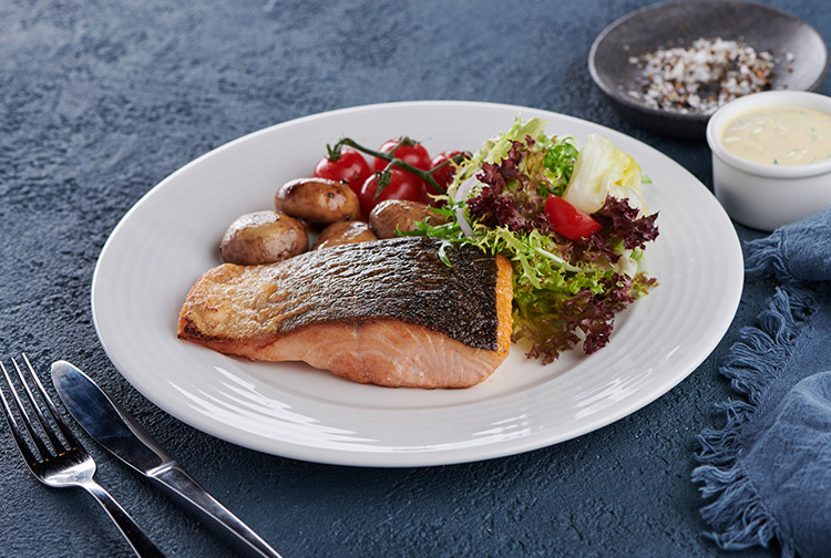 Salmon with salad at Nuevo restaurant in Premier Inn hotels