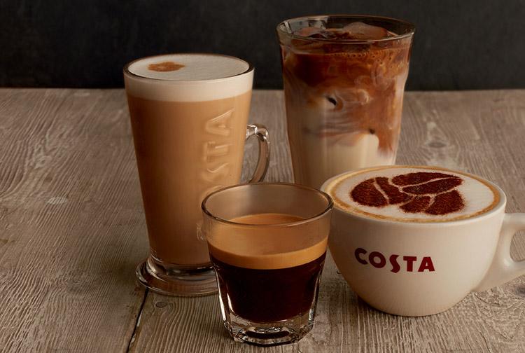 Hot and cold drinks at Costa Coffee in Premier Inn Ibn Battuta Mall