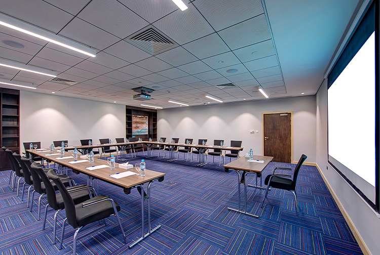 Large meeting room with conference facilities in Premier Inn hotel near Expo 2020