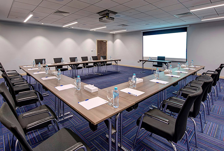 Meeting room set up for a business conference at Premier Inn hotels in Dubai