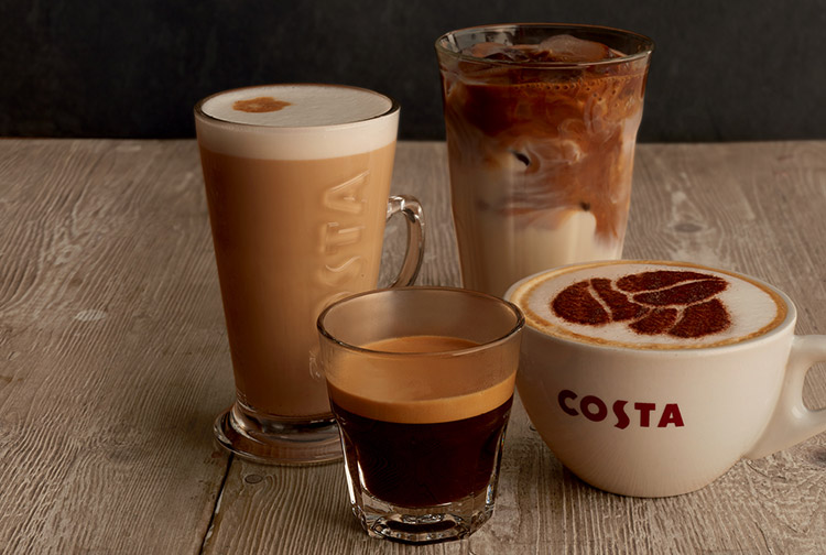 Selection of hot and cold drinks at Costa Coffee shop inside Premier Inn Dubai International Airport hotel