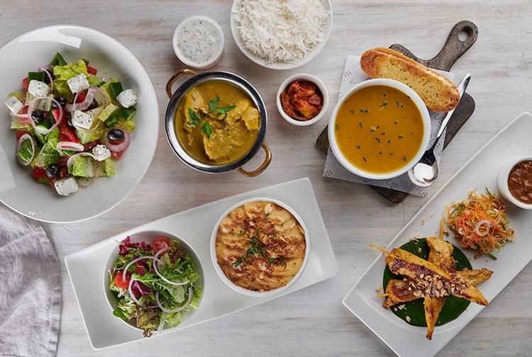 A selection of Arabic mezze, soups and hummus at Nuevo family restaurant near Dubai Airport