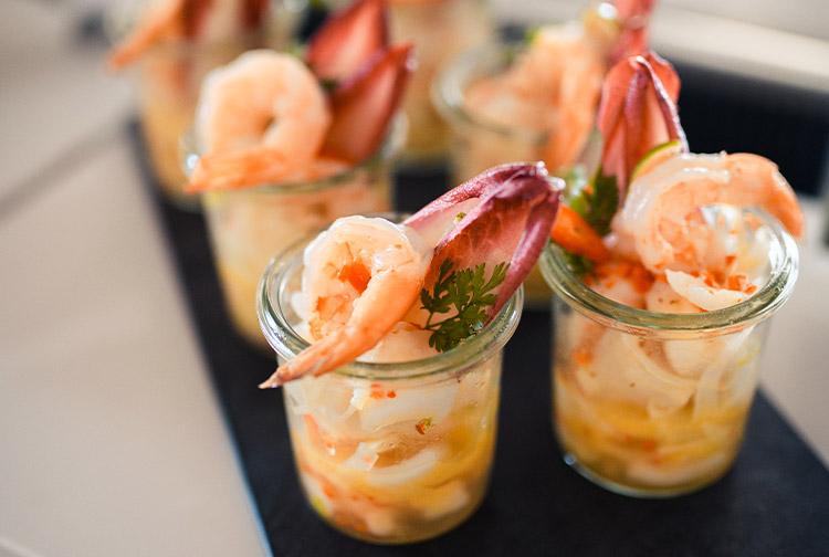 Prawn appetiser starters served in buffet restaurant in Premier Inn Dubai Silicon Oasis hotel