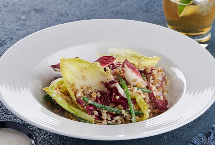 Salad served in restaurant at Premier Inn hotel near Dubai Silicon Oasis