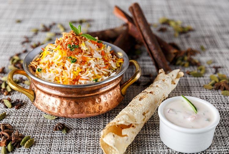 Indian Biriyani meal eith popadom at Omnia Restaurant in Premier Inn Doha Airport hotel