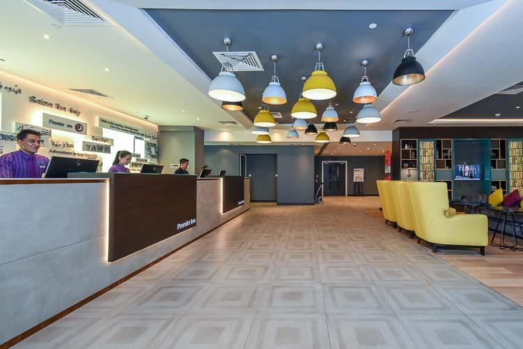 Reception and entrance lobby at Premier Inn hotel near Expo 2020