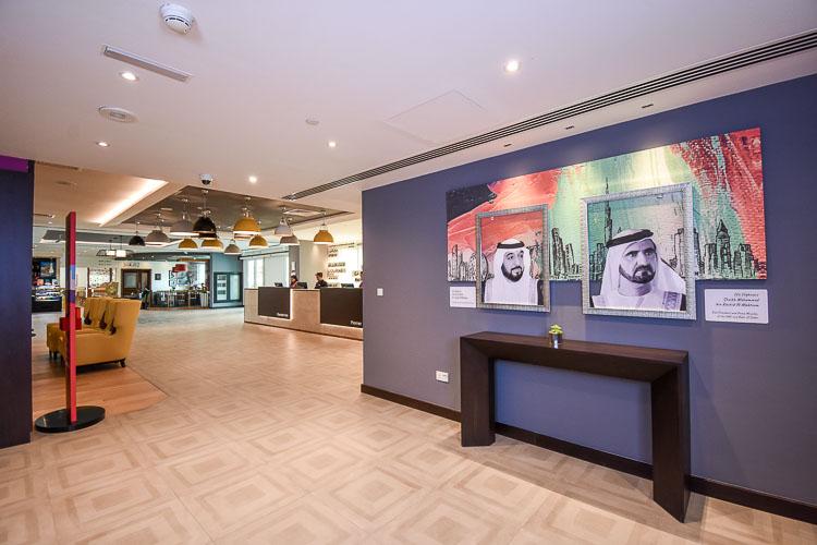 Lobby at Premier Inn Dubai Investments park hotel near Expo 2020