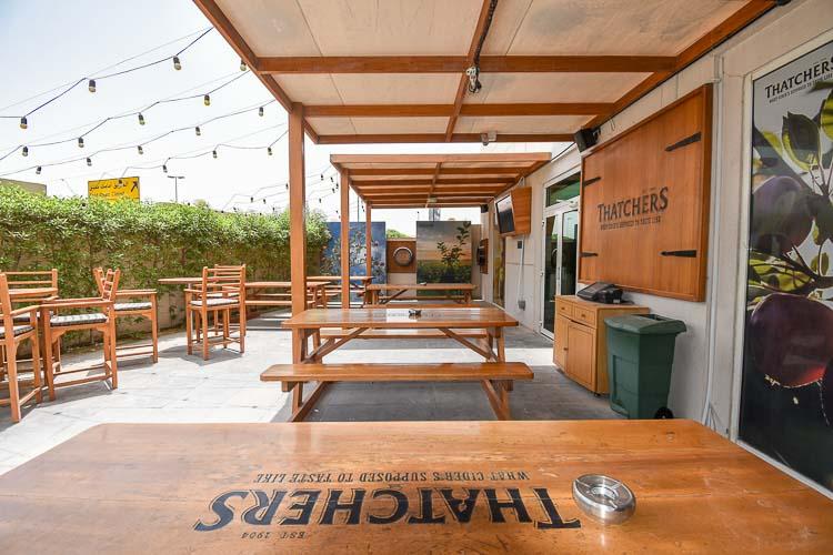 Outdoor beer garden at Premier Inn hotel in Dubai