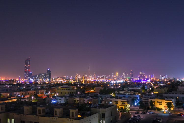 Downtown Dubai skyline view from Premier Inn Dubai International Airport hotel