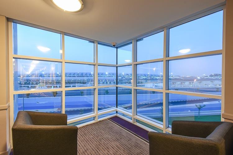 View of Dubai Airport from the room floors at Premier Inn Dubai International Airport hotel