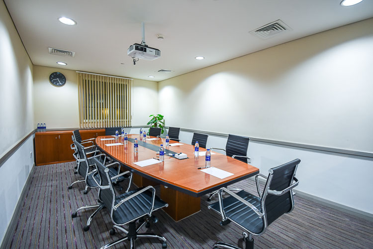 Meeting room with board room style seating at Prermier Inn Dubai International Airport hotel