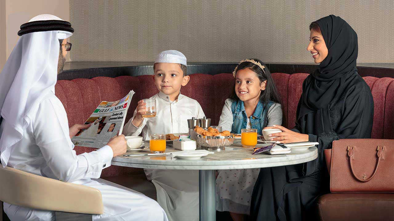 image of a family having breakfast at premier inn hotel dip