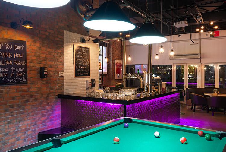 Billiards Pool table at the bar at Premier Inn hotels near expo 2020