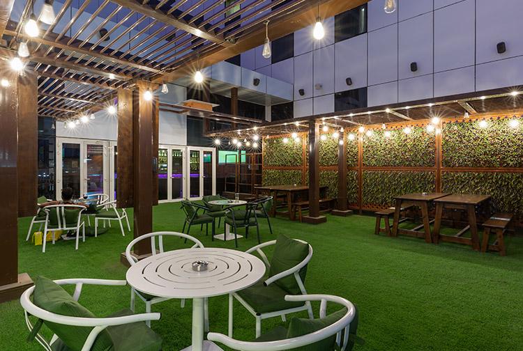 Mr Toad's Pub and Kitchen outdoor terrace seating near Ibn Battuta Mall hotel in Dubai