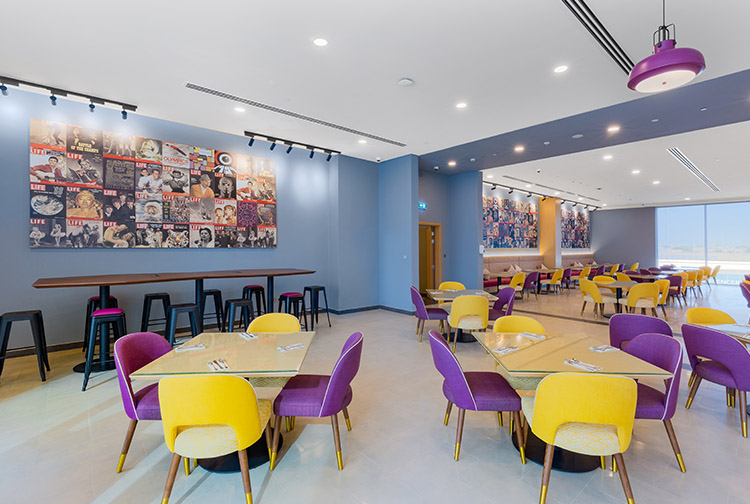 Restaurant for breakfast at budget hotel near Expo 2020 in Dubai